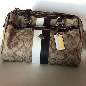 Coach Heritage Stripe Zip Satchel Handbag